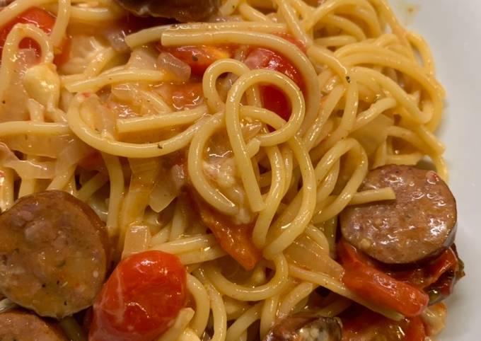 Tutorial Of One pot cheesy andouille pasta Super Fast