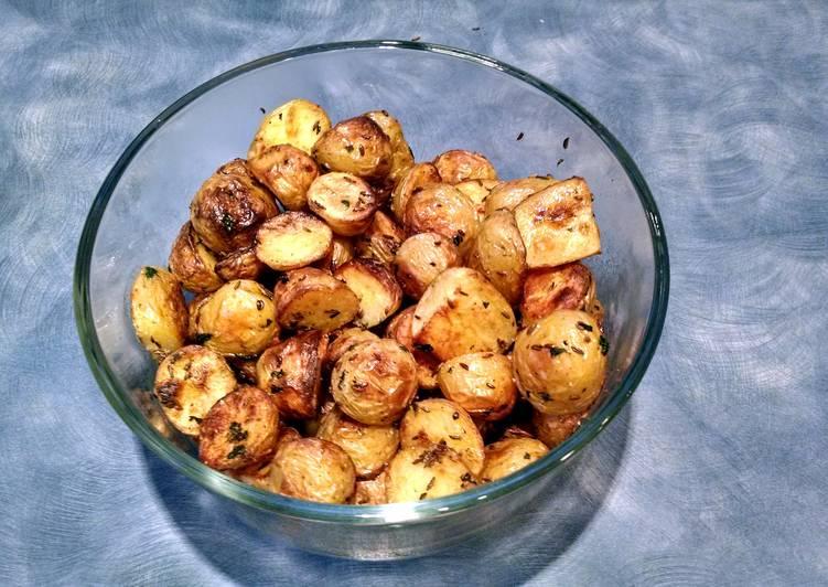 Caraway roasted new potatoes.
