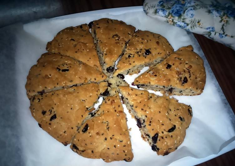 Sesameseeds-cranberry-chocolatechips scone (eggless)