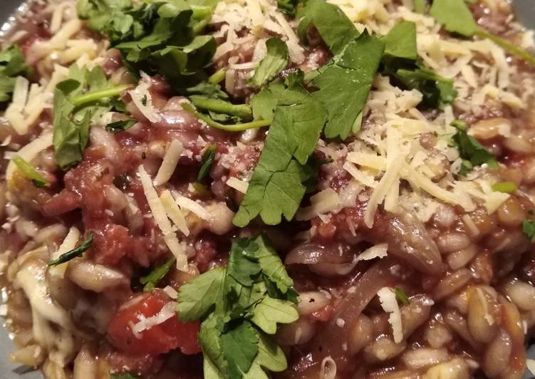 Easiest Way to Make Appetizing Red risotto with chorizo (or fake bacon)