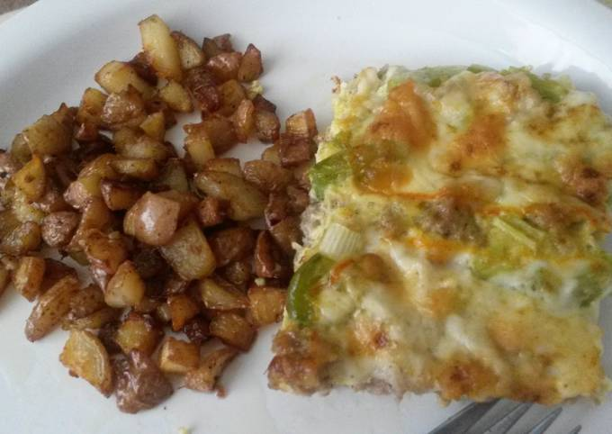 Breakfast Casserole and Fried Potatoes