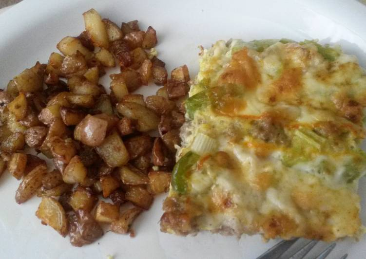 Breakfast Casserole and Fried Potatoes