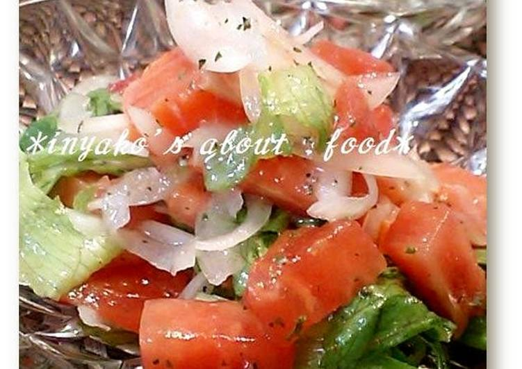 Easiest Way to Make Speedy Tomato and Salmon Red Marinated Salad
