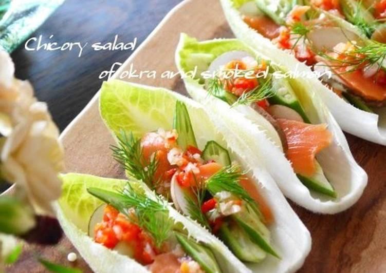 Salmon & Okra on an Endive Boat with Paprika Salsa