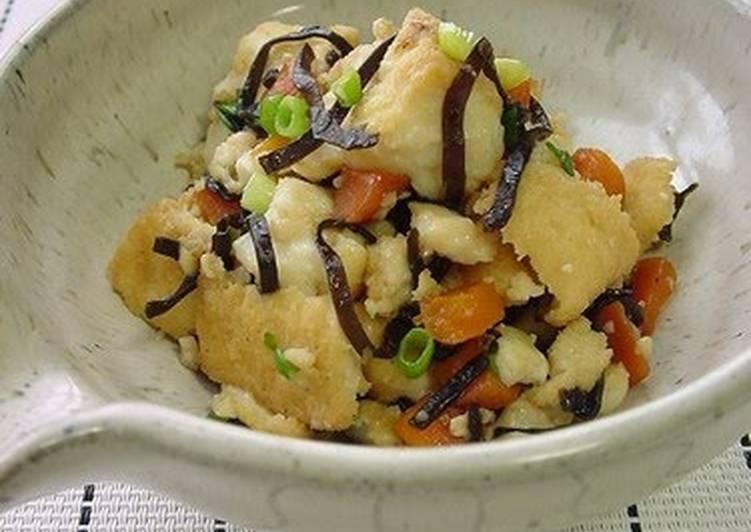 Simple Way to Make Favorite Shio-Kombu & Atsuage Tofu Stir-Fry
