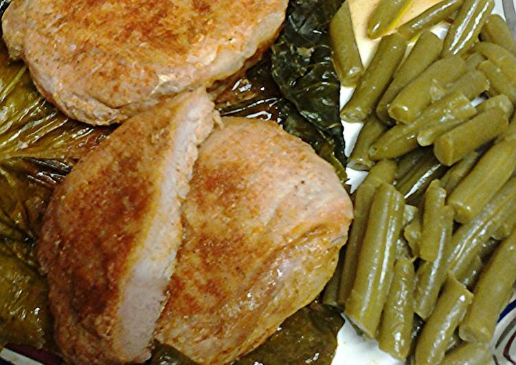 Pork loin in cabbage leaf