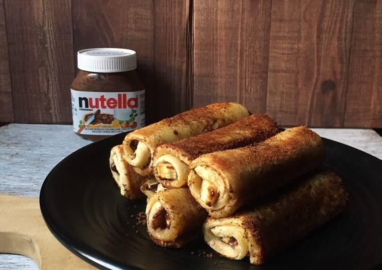 Banana Chocolate French Toast Roll Up