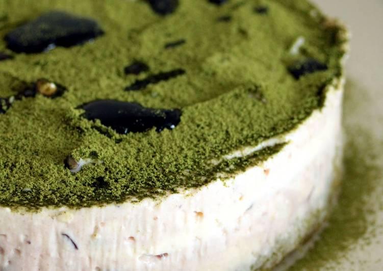 Use Food to Boost Your Mood Uji-Kintoki Inspired No-Bake Cheese Cake with Condensed Milk and Adzuki