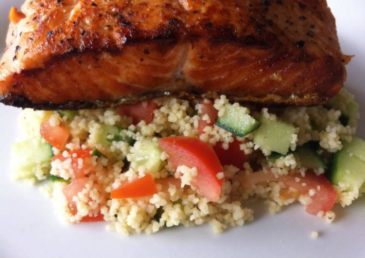 Fried Salmon in Couscous Salad