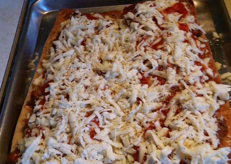 Steps to Make Super Quick Homemade Meatball parmsean pizza