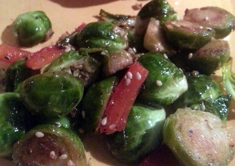 Brussels Sprouts sauteed with garlic and red bell pepper