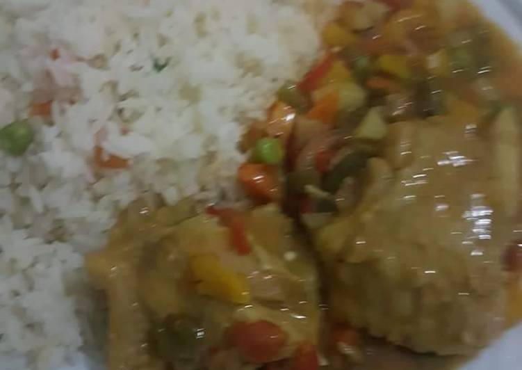 Easiest Way to Prepare Ultimate White rice with chicken sauce