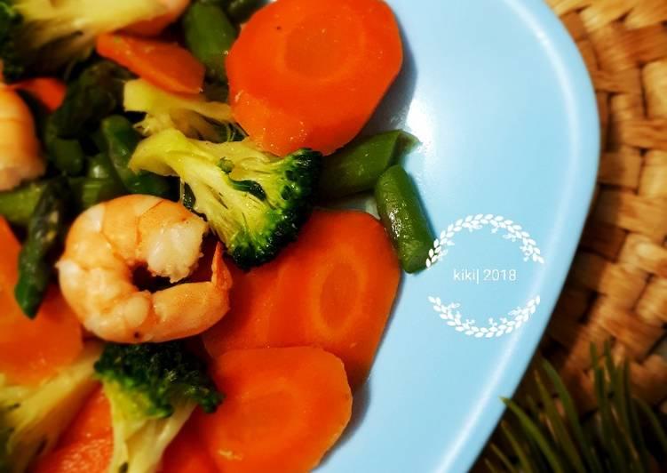 Tumis Udang BroWAs (brokoli wortel asparagus) 🥗