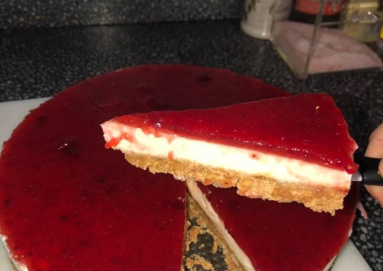 tarta de queso filadelfia con gelatina neutra