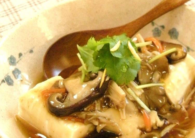 Recipe of Homemade Tofu In Silky An Mushroom Sauce ☆Yuzu Pepper Flavor