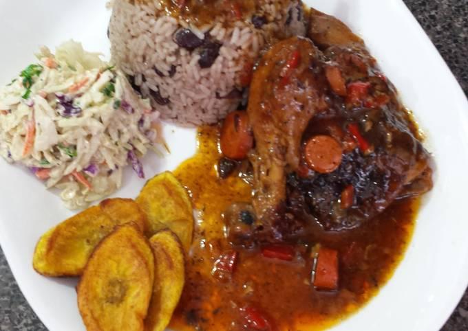 Jamaican brown stewed chicken