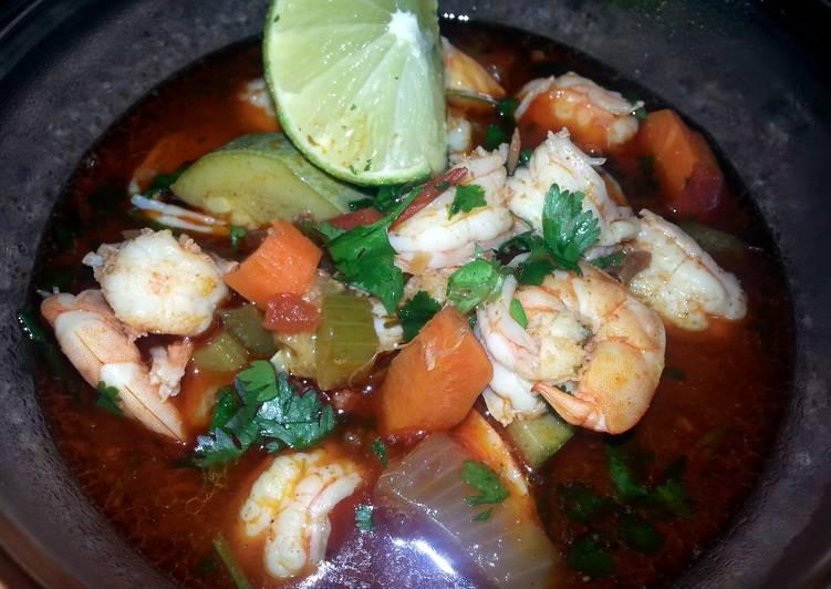 Spicy chorizo & longaniza shrimp soup