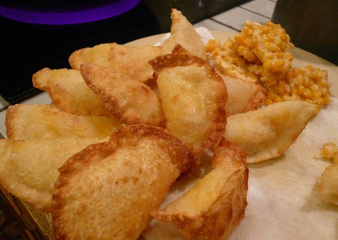 Easy Appetizer with Gyoza Skins, Corn, and Potato
