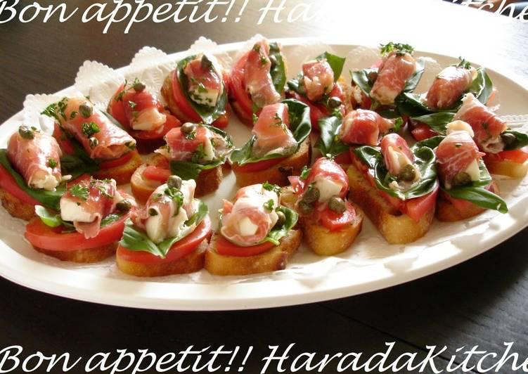 Cured Ham, Mozzarella and Caper Bruschetta