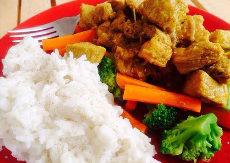 Easiest Way to Prepare Top-Rated Tangy Pork Curry with Coconut Rice