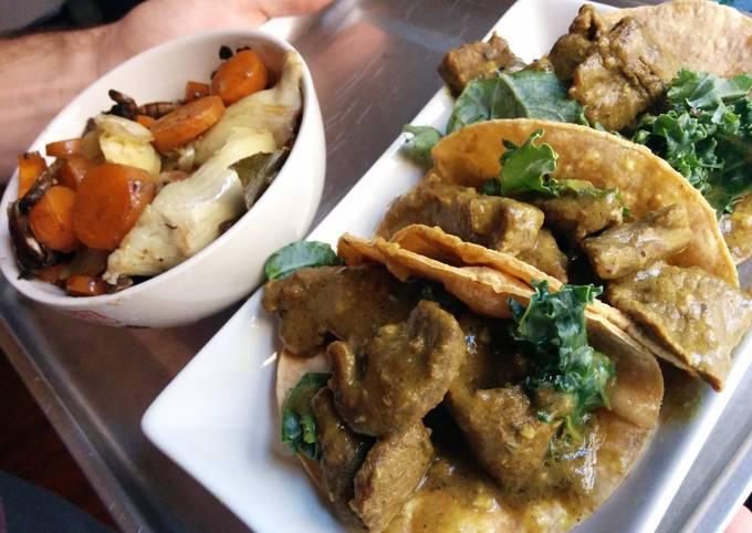 Curry sirloin tacos with bacon veggies