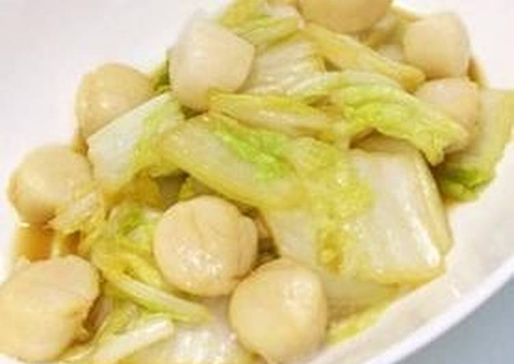 Steamed Chinese Cabbage And Scallops With Garlic Butter Soy Sauce Recipe By Cookpad Japan Cookpad