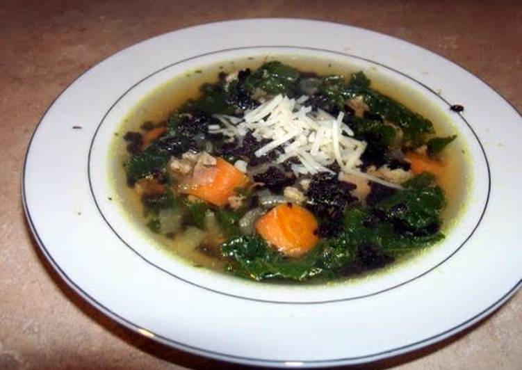Turkey and kale soup with black rice