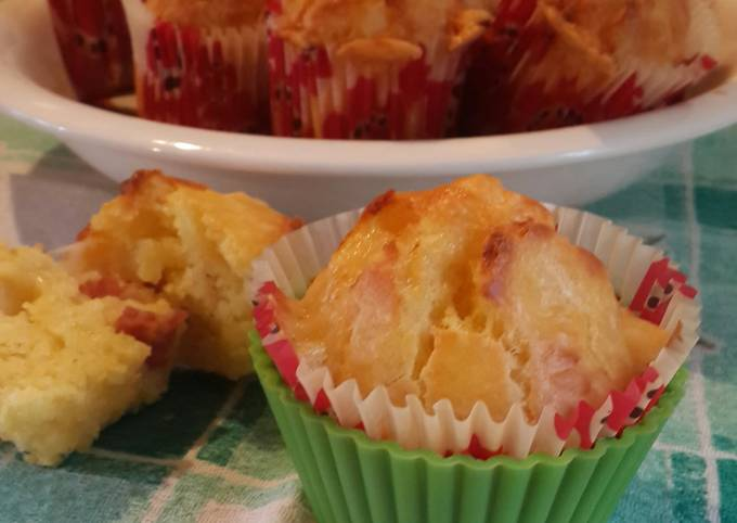 Cheesy muffins with salami (or ham)