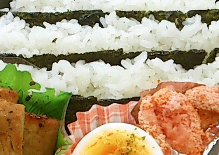 Easy Striped Bento with Flavoured Nori Seaweed