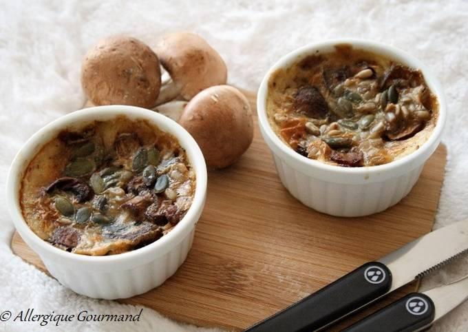 Clafoutis aux champignons  sans gluten, sans oeufs