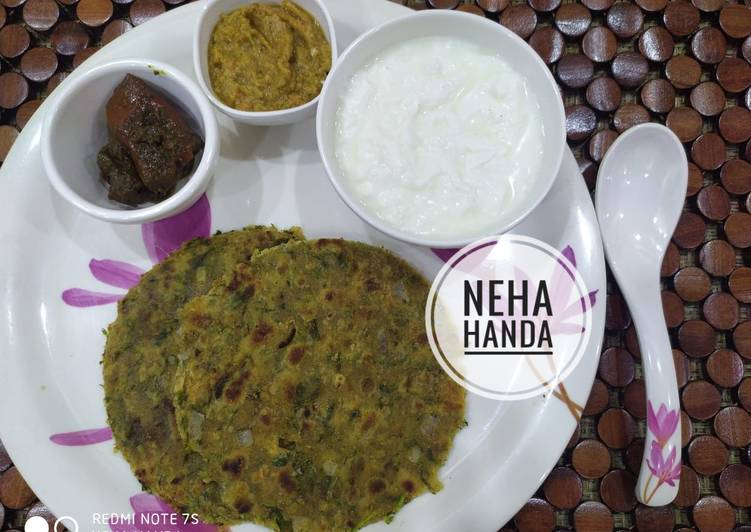Drumstick(sahjan) leaves paratha with drumstick chutney