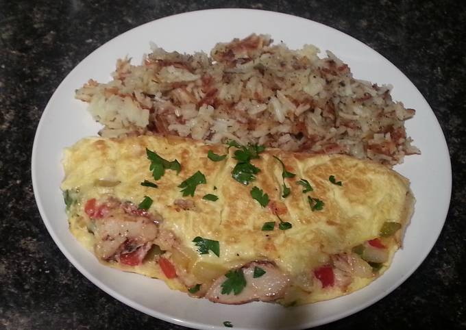 Grilled chicken omelet