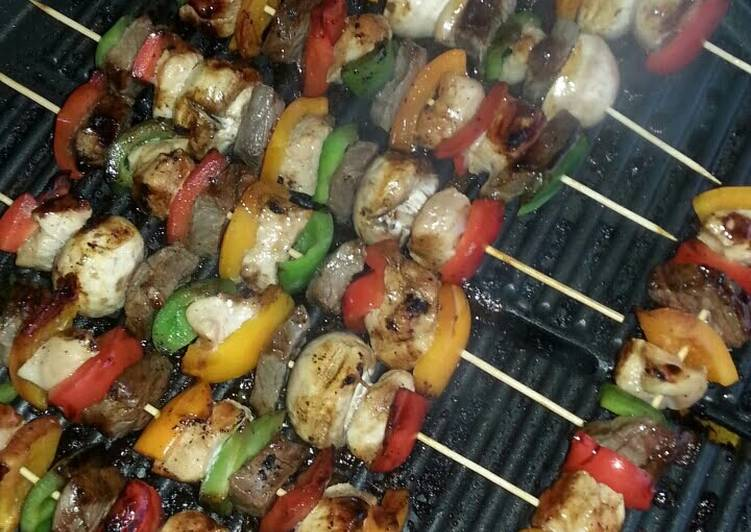 Marinated Chicken and Beef Kabobs