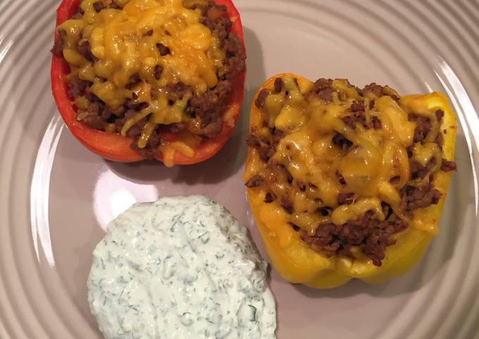 Stuffed Peppers With Cilantro-Lime Sauce
