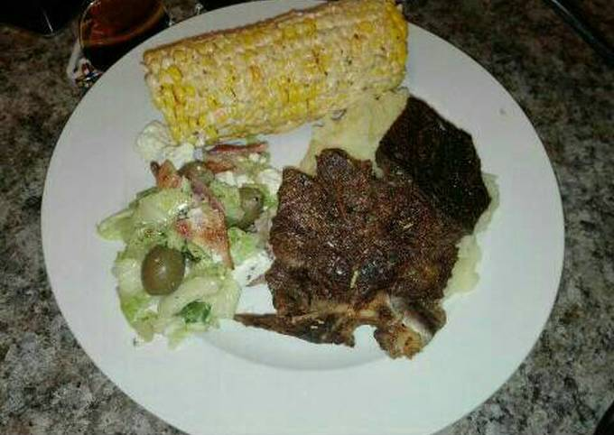 Grilled meat and salads