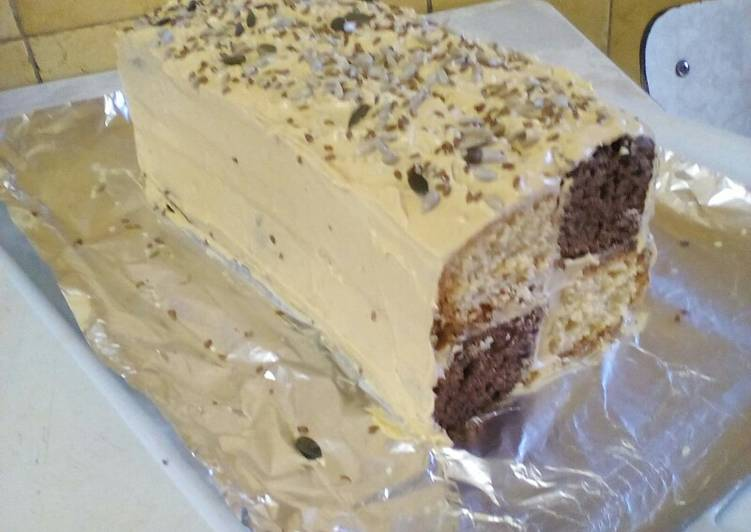 Steps to Prepare Ultimate Chocolate Vanilla Blocks Cake with Caramel Butter Cream