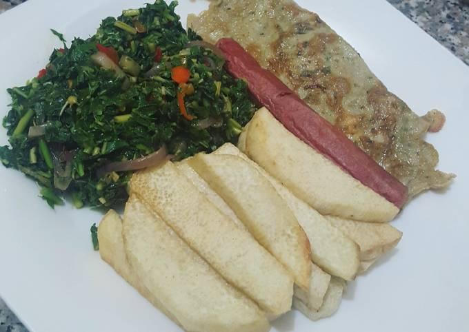 Fried yam medley breakfast