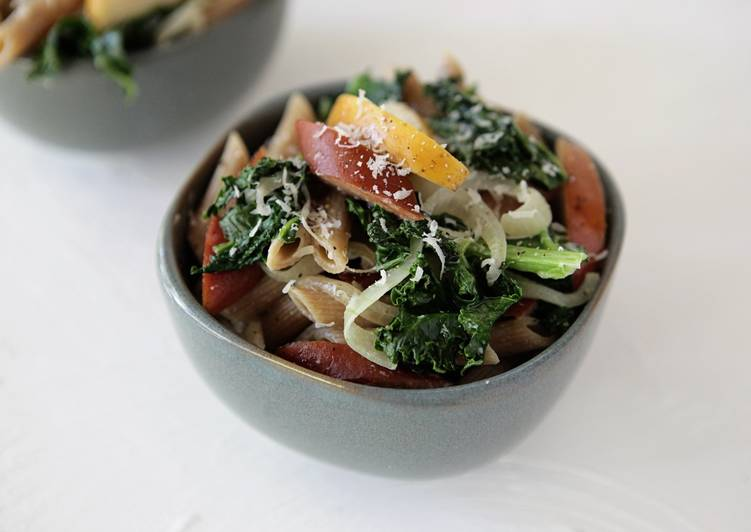 Spotted Trotter Sausage, Crisp Apple and Kale Pasta in Cream Sauce