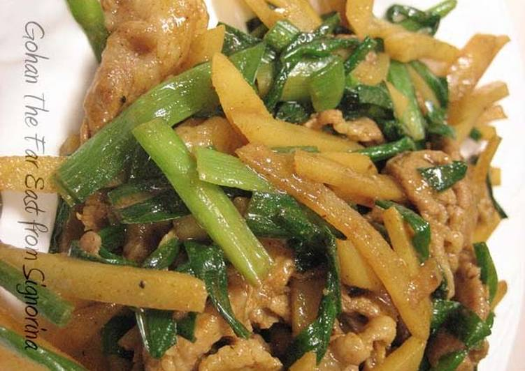 Recipe: Yummy Pork, Chinese Chives, and Potato Summer Curry Stir-Fry