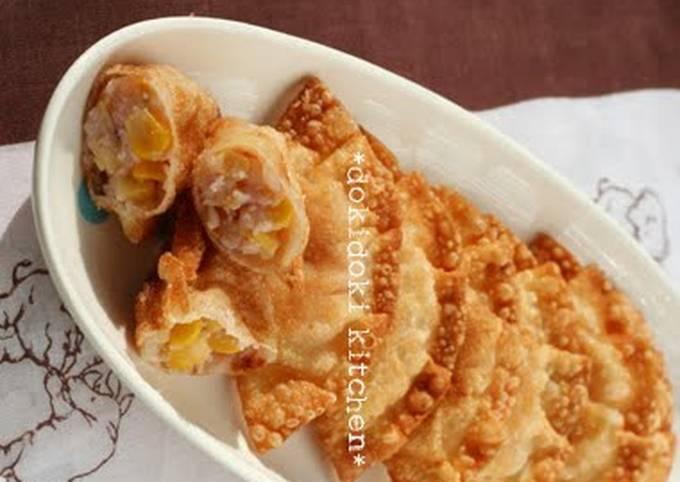 Crispy Fish Sausage and Corn Gyoza
