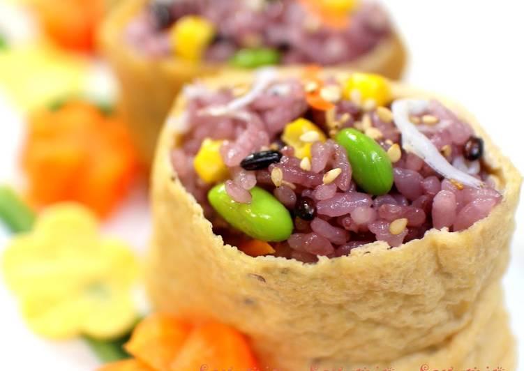 Recipe of Favorite Seven Colored Inari Sushi with Black Rice
