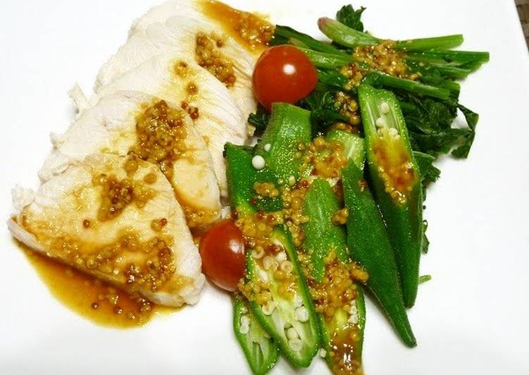5 Minute Steps to Make Diet Perfect Steamed Chicken with Whole Grain Mustard and Ponzu