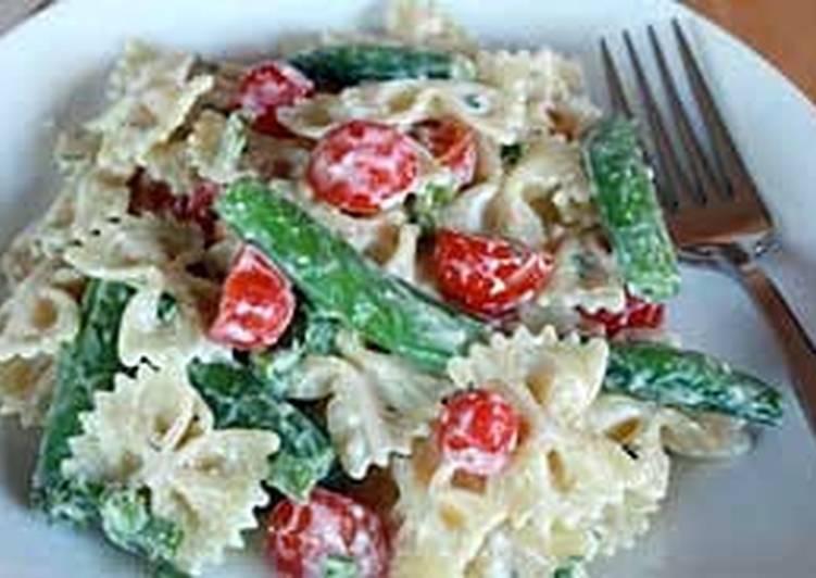 sugar snap pea & cherry tomato pasta