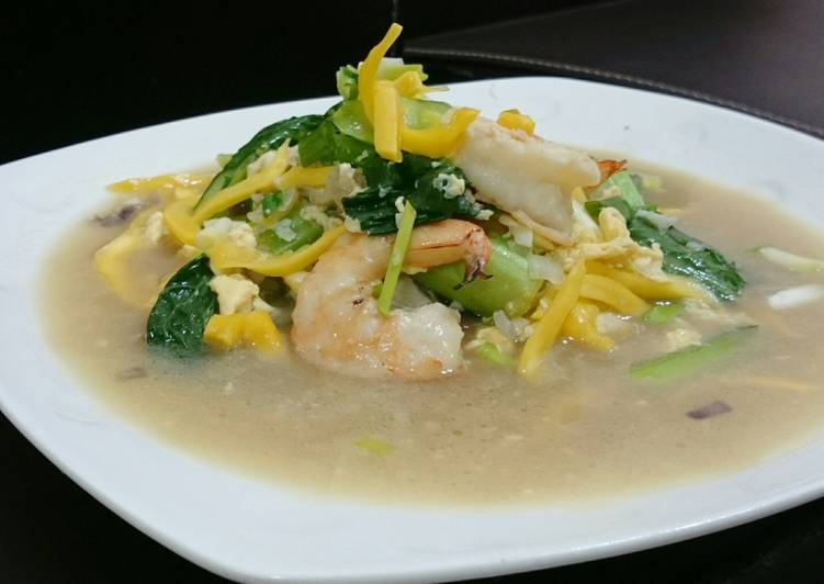 How to Prepare Yummy Shrimp And Choy Sum With Jackfruit In Egg Broth