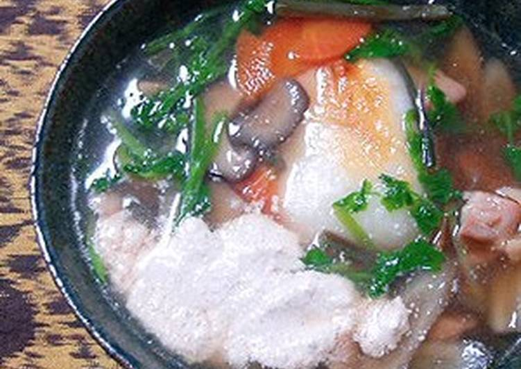 30 Minute Recipe of Award Winning Chicken and Burdock Root Zouni  (Rich with Walnut Sauce)