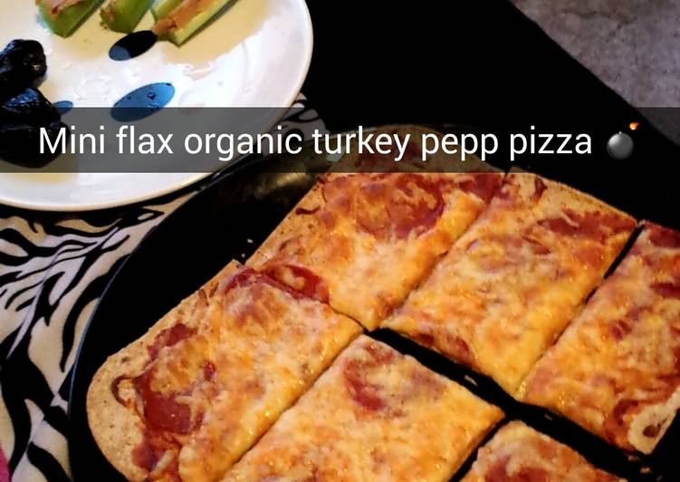 Flax seed flat bread pizza