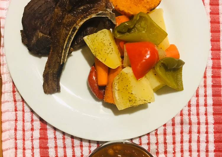 Simple Way to Make Quick Veggies and mutton chops