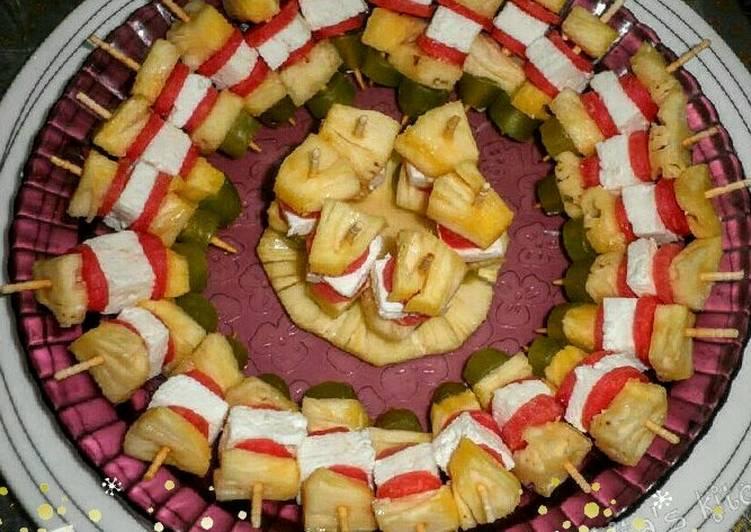 Pineapple Cheese Salad Skewers