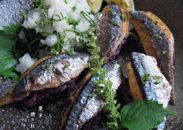 10 Minute Easiest Way to Make Ultimate Grilled Pacific Saury Sushi with Black Rice