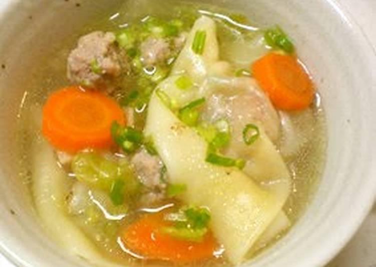 A Wonton Soup with Plenty of Vegetables